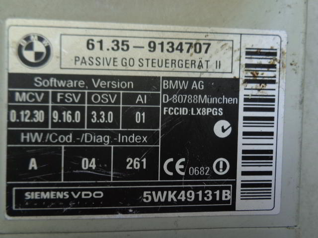 Блок управления системы Passiv Go 9134707  5WK49131B BMW 6-Series E63 2003 - 2010 5.0i